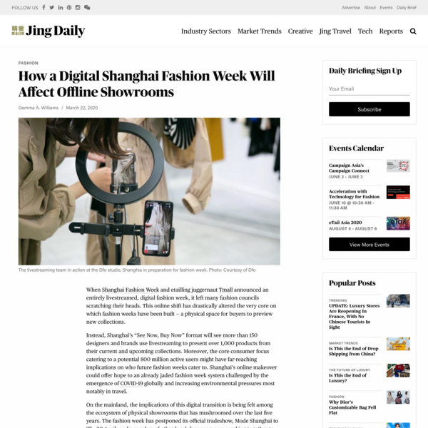 How a Digital Shanghai Fashion Week Will Affect Offline Showrooms | Jing Daily