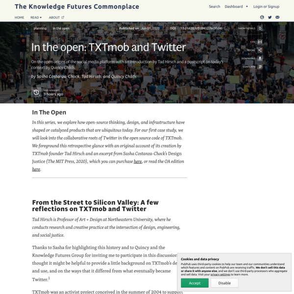 In the open: TXTmob and Twitter · The Knowledge Futures Commonplace
