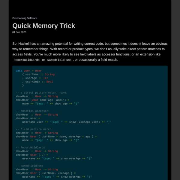 Quick Memory Trick
