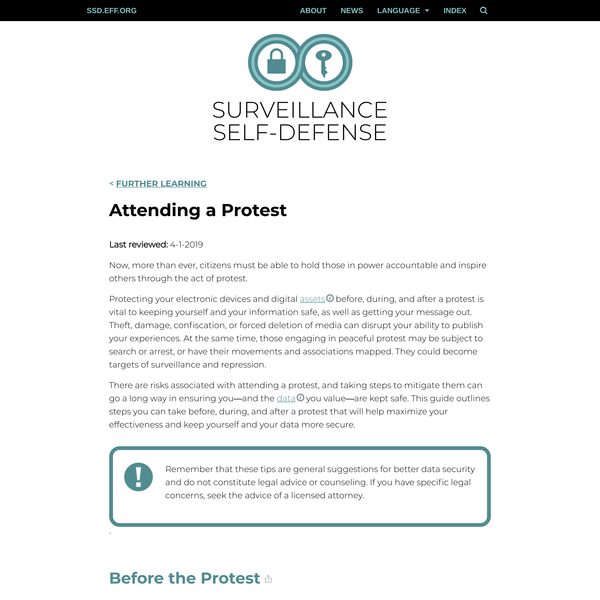 Attending a Protest | Surveillance Self-Defense