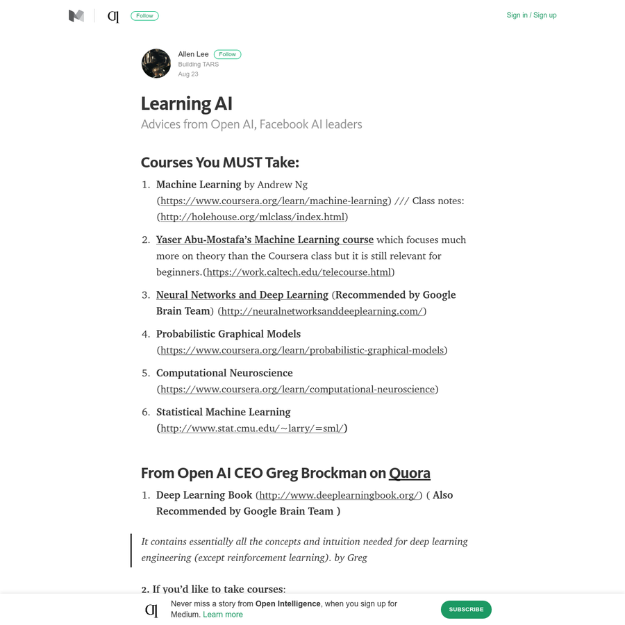 Advices from Open AI, Facebook AI leaders