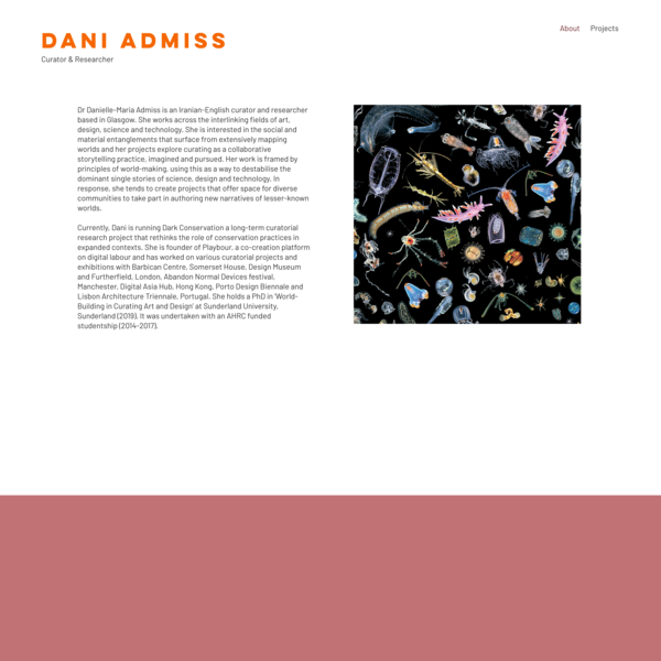About | Dani Admiss— Curator, Researcher