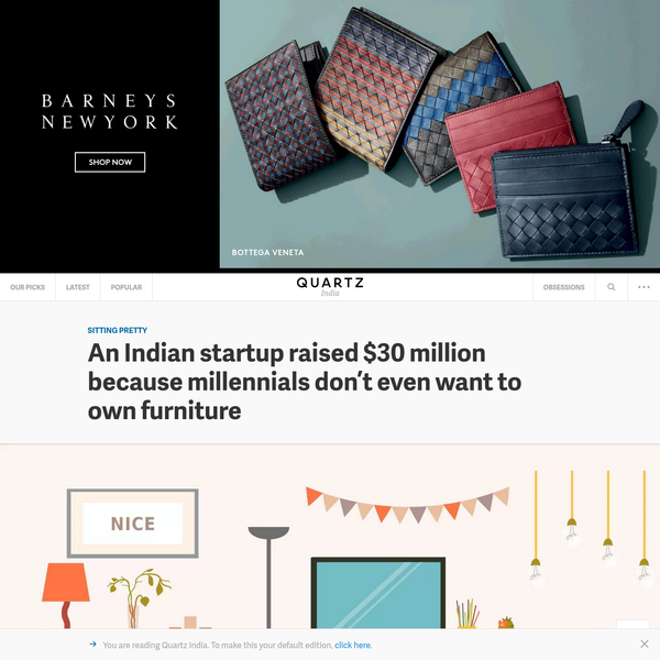 An Indian startup raised $30 million because millennials don't even want to own furniture