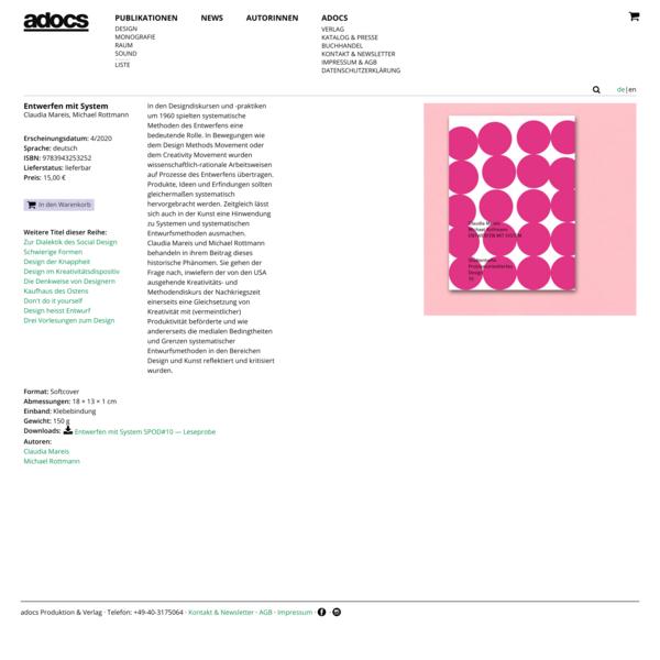 Entwerfen mit System | ADOCS Verlag