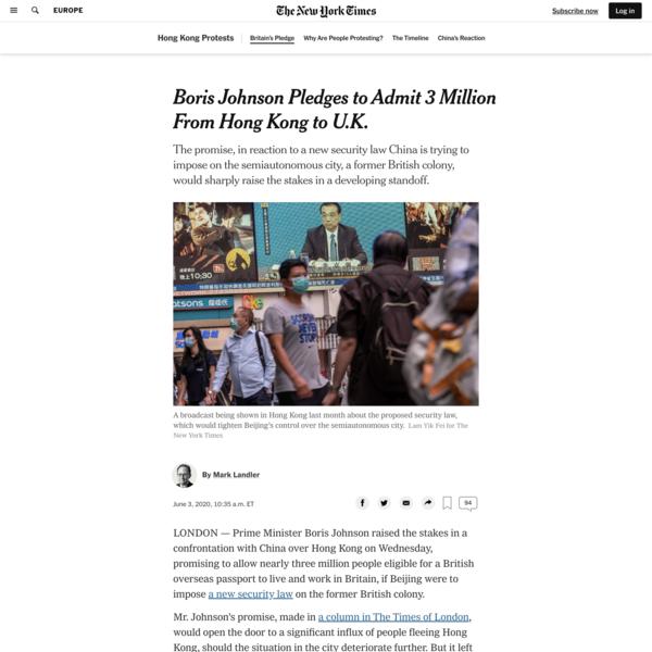 Boris Johnson Pledges to Admit 3 Million From Hong Kong to U.K.