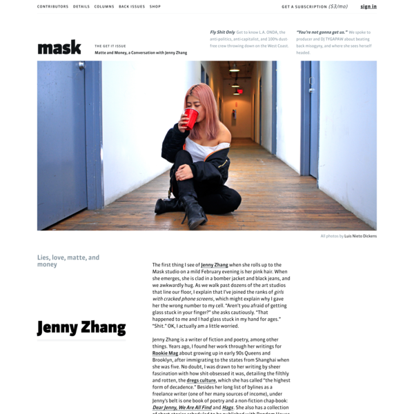Matte and Money, a Conversation with Jenny Zhang