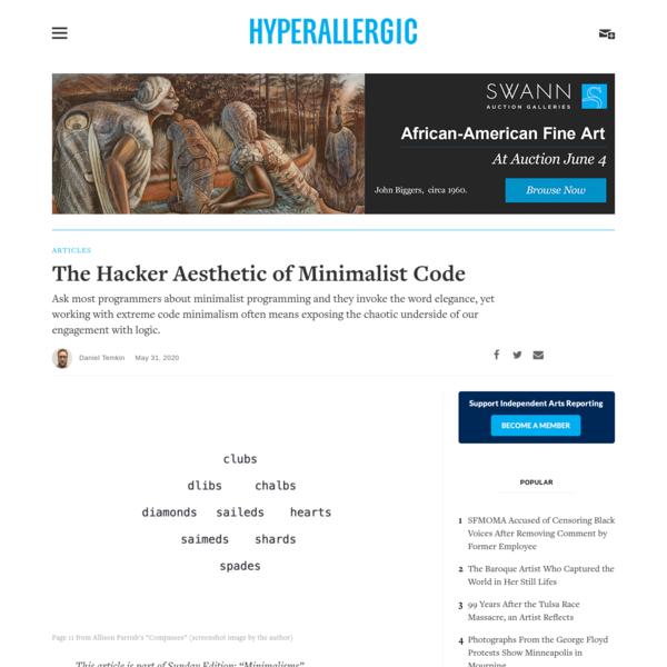 The Hacker Aesthetic of Minimalist Code