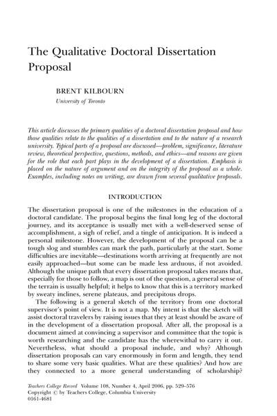 the qualitative doctoral dissertation proposal brent kilbourn