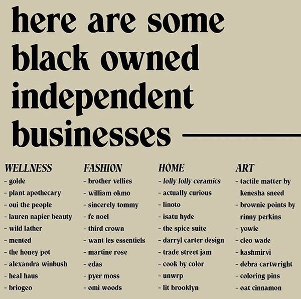 Black owned businesses to support now and always. Follow them, buy from them, share them. Via @vick______george 🖤 Also, plea...