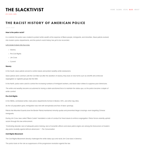 The Racist History of American Police - The Slacktivist