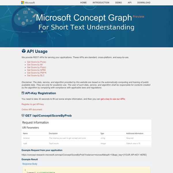 Microsoft Concept Graph and Concept Tagging Release
