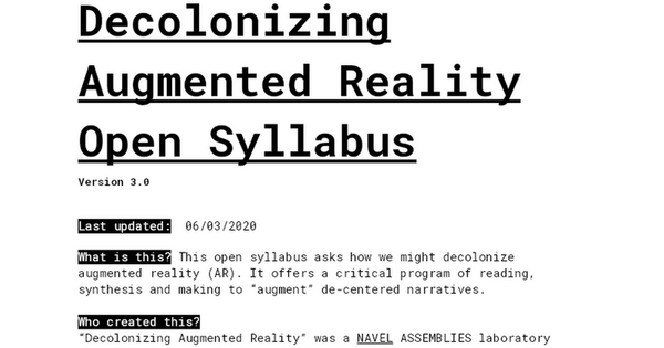 Decolonizing Augmented Reality Open Syllabus
