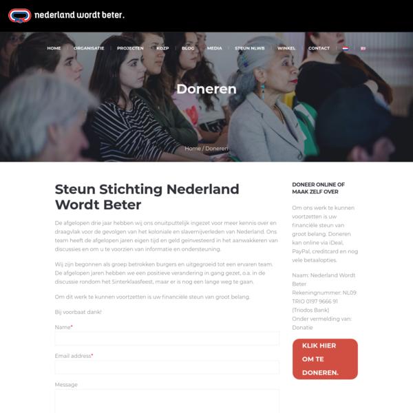 Doneren - Stichting Nederland Wordt Beter