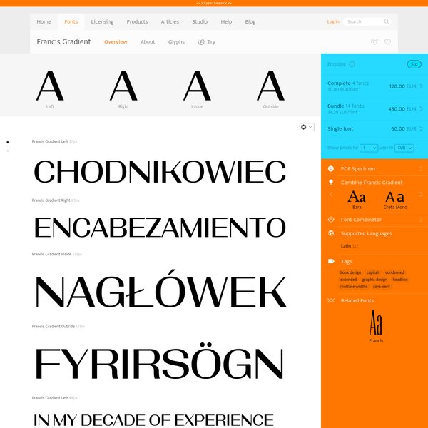 Typotheque: Francis Gradient font family