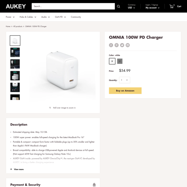 OMNIA 100W PD Charger – AUKEY Online