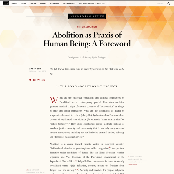 Abolition as Praxis of Human Being: A Foreword