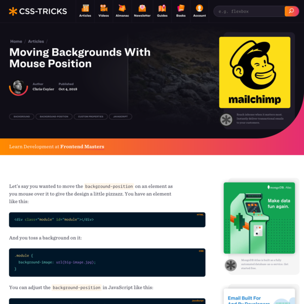 Moving Backgrounds With Mouse Position | CSS-Tricks