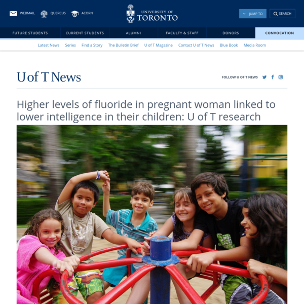Higher levels of fluoride in pregnant woman linked to lower intelligence in their children: U of T research