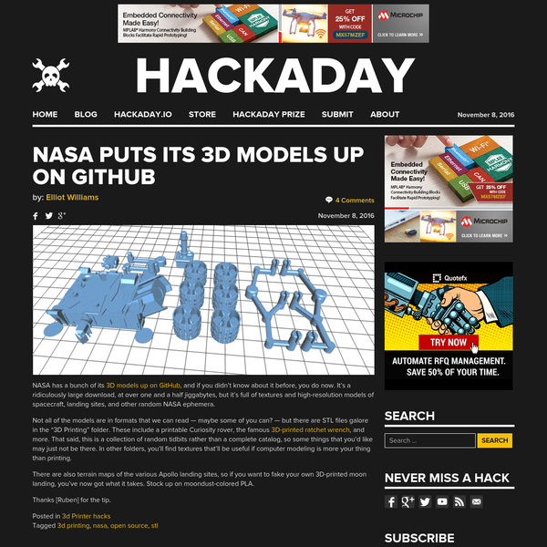 NASA has a bunch of its 3D models up on GitHub, and if you didn't know about it before, you do now. It's a ridiculously large download, at over one and a half jiggabytes, but it's full of textures and...