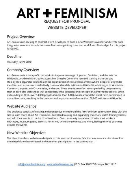 Art+Feminism Request for Proposal: Website Developer