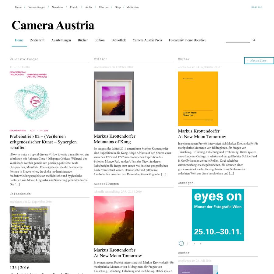 Die Zeitschrift Camera Austria International widmet sich der Debatte um die Rolle der Fotografie zwischen Kunst und Massenmedium, zwischen Ästhetik und sozialer Praxis, zwischen Dokument und Diskurs, Politik und Bild.