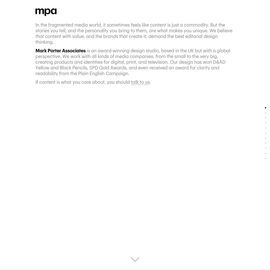 MPA is an award-winning design studio with a unique understanding of content-based media. We create products and identities for digital, print, and broadcast.
