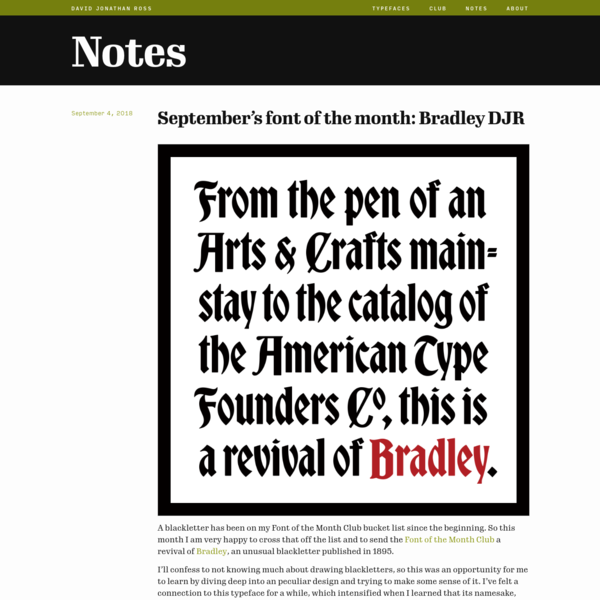 September's font of the month: Bradley DJR