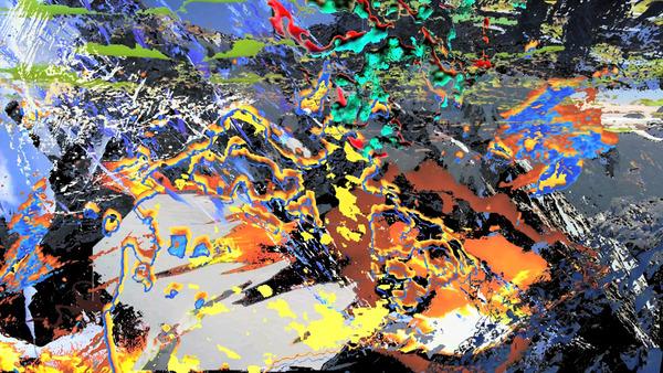 Borna Sammak, untitled video painting 08 (volcano), 2009 (detail)