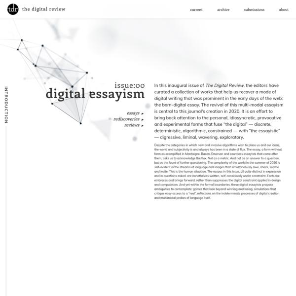 the digital review   issue 00 : digital essayism