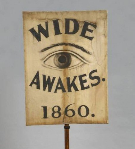 """""""In 1860, a youth abolitionist network called """"the Wide Awakes"""" sprung up in cities across the north. They would show up uninvited at politicians' homes in the middle of the night — w/ brass bands, lit torches & serenades — to demand support for their antislavery cause. """"They deliberately targeted young people, calling massive crowds of youths to 'wake up"""" … their iconography of an open eye, talk of throwing off past stupor,"""" a movement led by 23 year olds"""""""