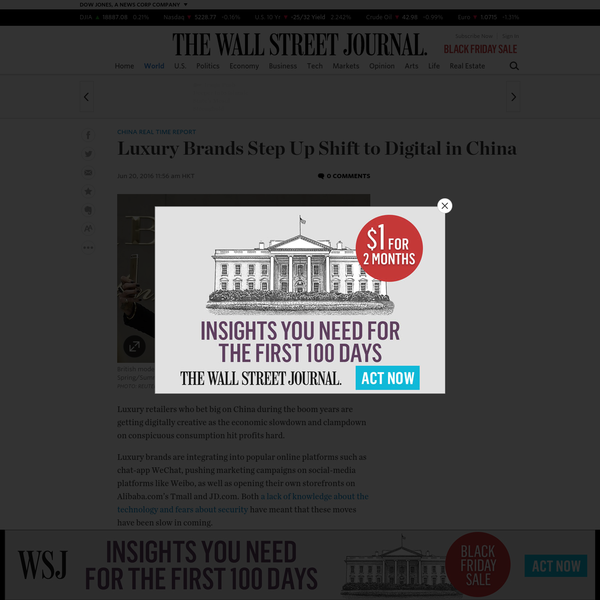 Luxury retailers who bet big on China during the boom years are getting digitally creative as the economic slowdown and clampdown on conspicuous consumption hit profits hard. Luxury brands are integrating into popular online platforms such as chat-app WeChat, pushing marketing campaigns on social-media platforms like Weibo, as well as opening their own storefronts on Alibaba.com's Tmall and JD.com.