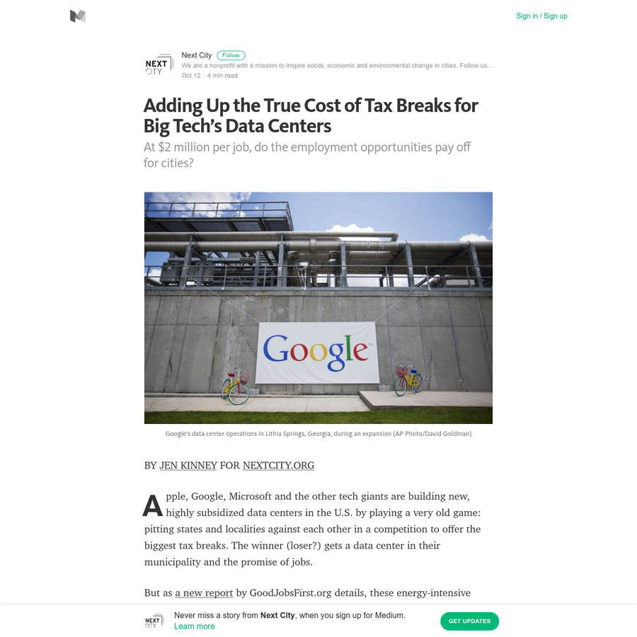 BY JEN KINNEY FOR NEXTCITY.ORG Apple, Google, Microsoft and the other tech giants are building new, highly subsidized data centers in the U.S. by playing a very old game: pitting states and localities against each other in a competition to offer the biggest tax breaks. The winner (loser?)