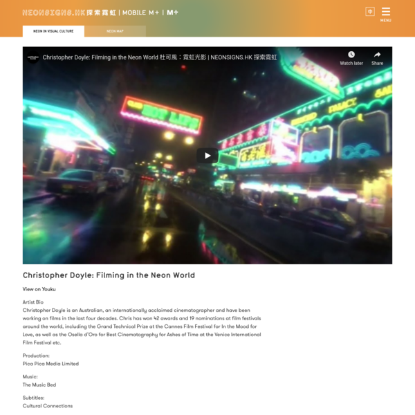 Christopher Doyle: Filming in the Neon World | NEONSIGNS.HK 探索霓虹