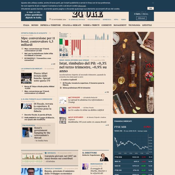 Il Sole 24 Ore: notizie di economia, finanza, borsa, fisco, cronaca italiana ed esteri