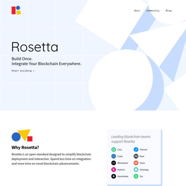 Rosetta - Integrate Your Blockchain Everywhere