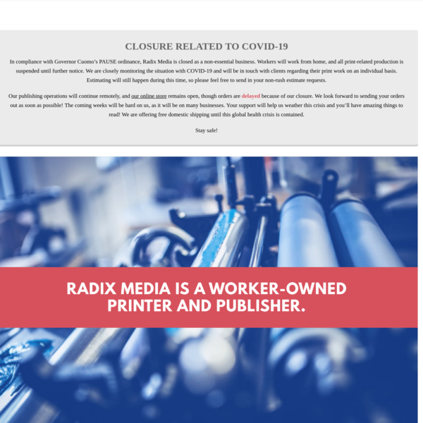 Radix Media: A Worker-Owned Printer & Publisher