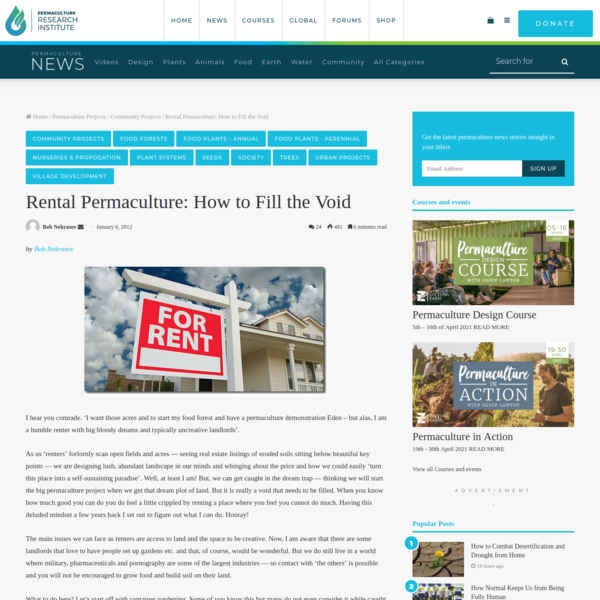 Rental Permaculture: How to Fill the Void - The Permaculture Research Institute