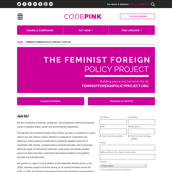 Feminist Foreign Policy Project: Join Us!