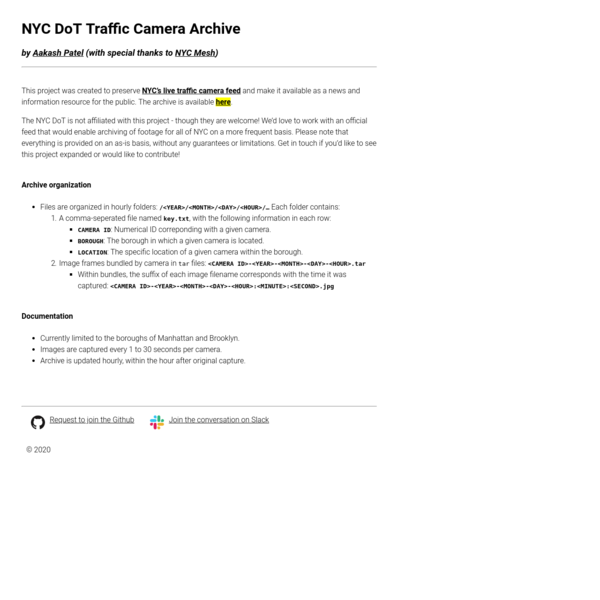 NYC DoT Traffic Camera Archive