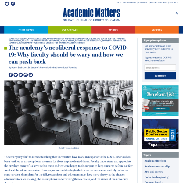 The academy's neoliberal response to COVID-19: Why faculty should be wary and how we can push back - Academic Matters