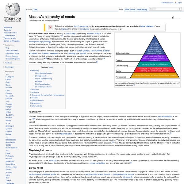 """Maslow's hierarchy of needs is a theory in psychology proposed by Abraham Maslow in his 1943 paper """"A Theory of Human Motivation"""". Maslow subsequently extended the idea to include his observations of humans' innate curiosity. His theories parallel many other theories of human developmental psychology, some of which focus on describing the stages of growth in humans."""
