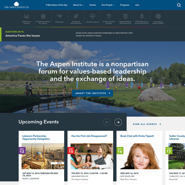 The Aspen Institute is a nonpartisan forum for values-based leadership and the exchange of ideas.