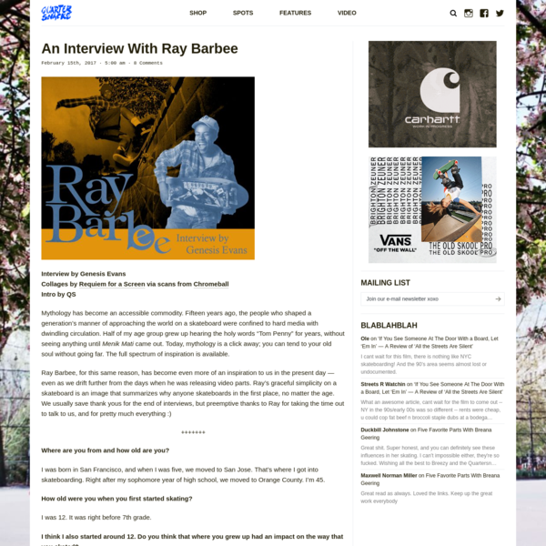 An Interview With Ray Barbee