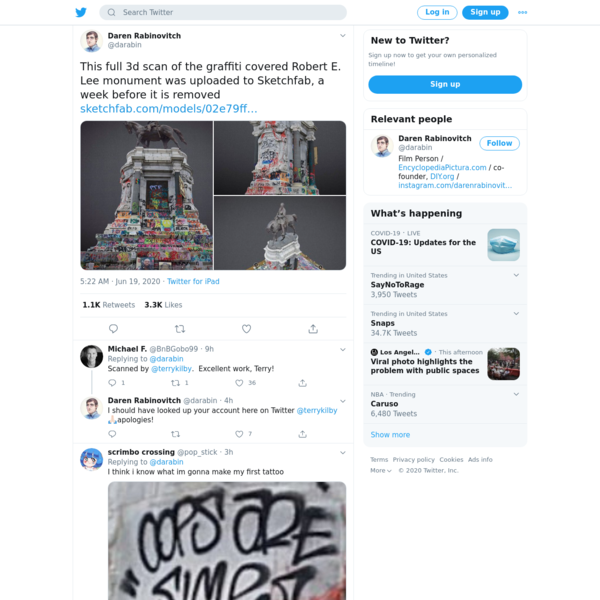 "Daren Rabinovitch on Twitter: ""This full 3d scan of the graffiti covered Robert E. Lee monument was uploaded to Sketchfab, a week before it is removed https://t.co/2vDwTCCFHY https://t.co/r97Mjo0U4W"" / Twitter"