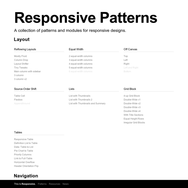 A collection of patterns and modules for responsive designs.