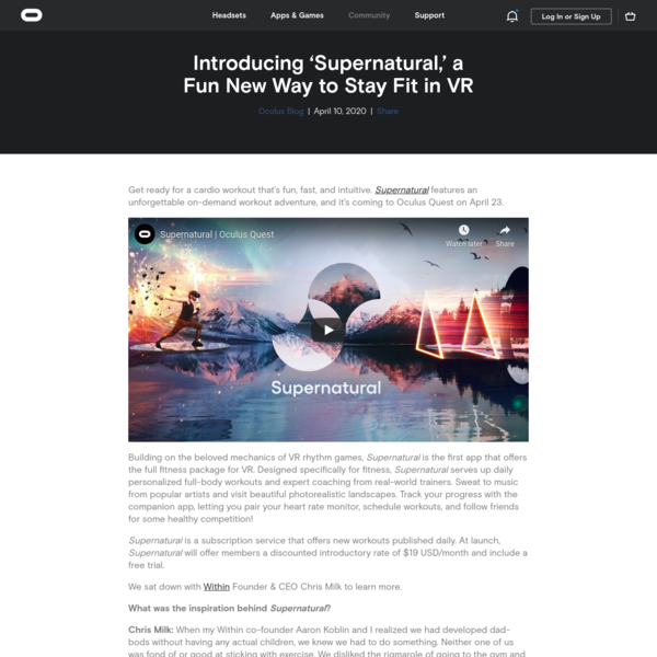 Introducing 'Supernatural,' a Fun New Way to Stay Fit in VR