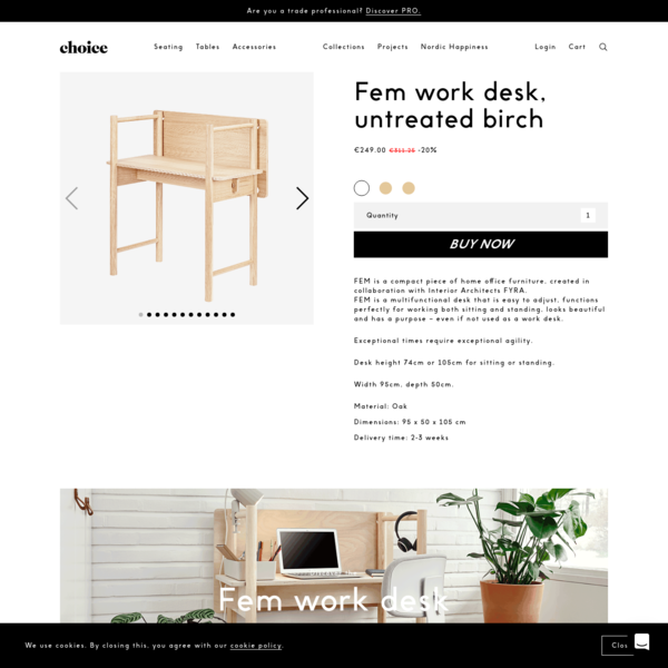 Made by Choice | Fem work desk, side table