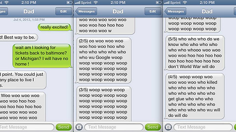 My dad accidentally texted me with voice recognition...while playing the tuba