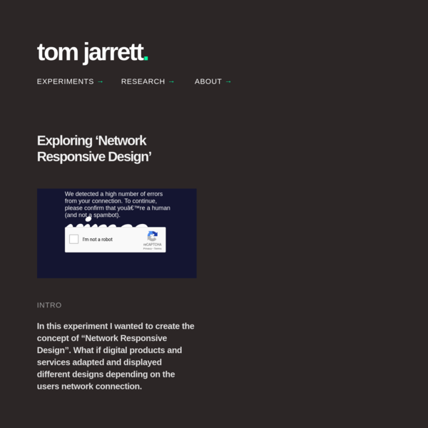 Network Responsive Design - Tom Jarrett