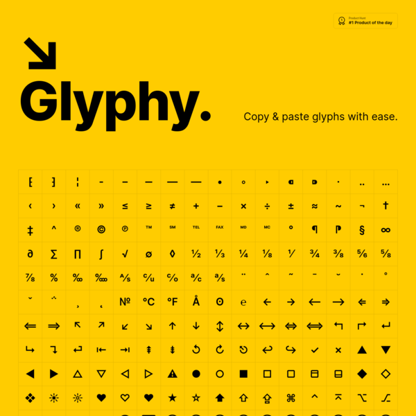Glyphy → Copy & paste glyphs with ease! ♥